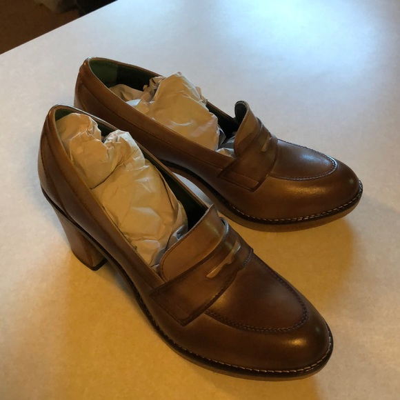 18c5a5f52be British Passport penny loafer leather heeled shoe